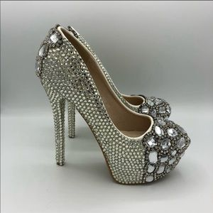 Unbranded | Silver Sparkle Jeweled High Heels 7.5